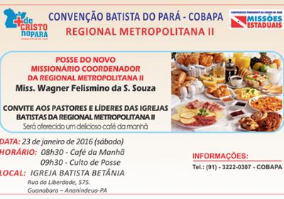 Convite - Posse do novo Missionário Coordenador da Regional Metropolitana II